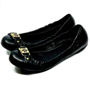 TORY BURCH~clines~LOGO BALLET FLAT~BLACK LEATHER